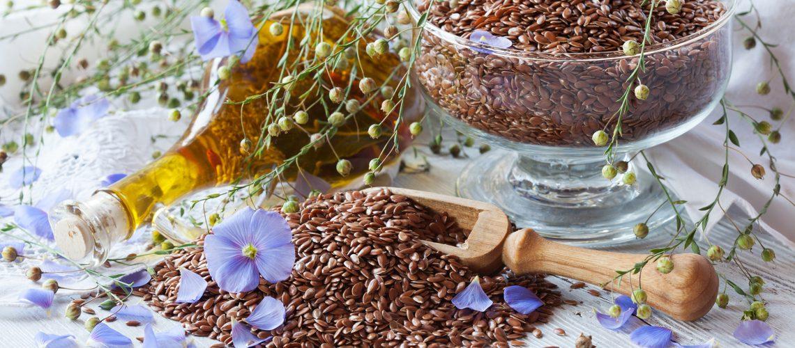 Flax seeds, oil, flowers, healthy food